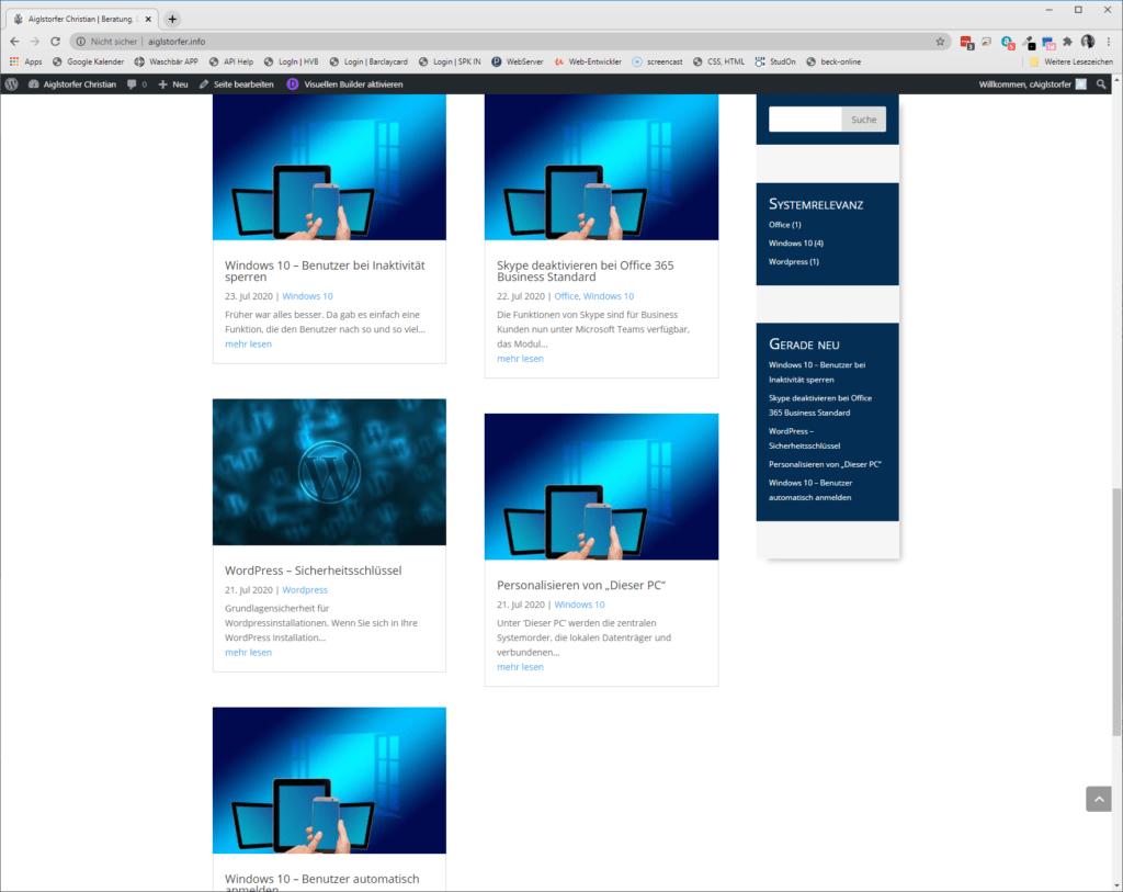 Screenshot DIVI Beiträge Grid Beiträge auf gleiche Höhe bringen