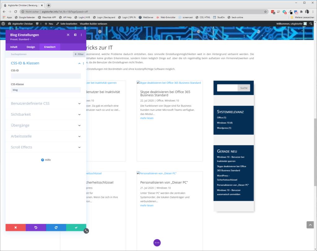 Screenshot DIVI Blog Einstellungen Erweitert Beiträge auf gleiche Höhe bringen