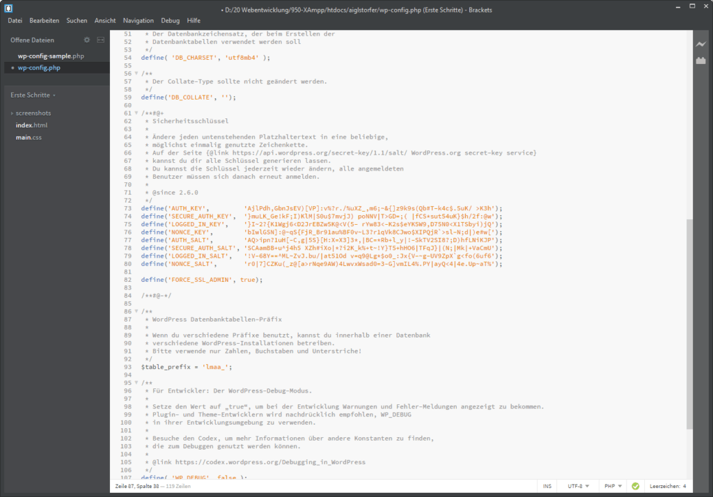 Screenshot wp-config.php