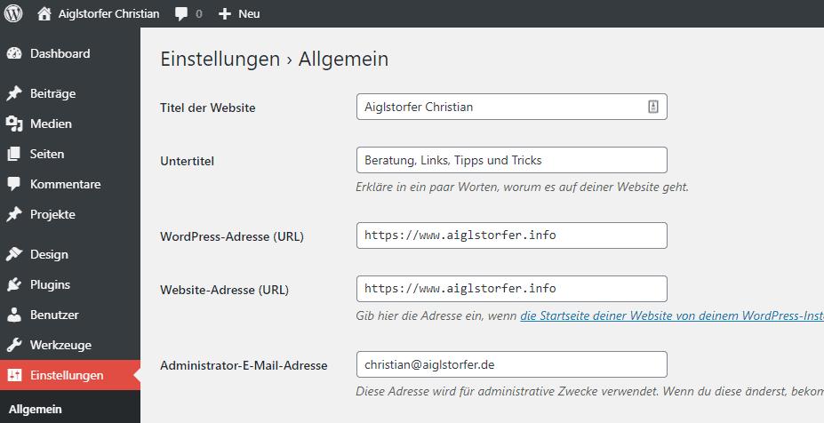 Screenshot WP Einstellungen Allgemein WordPress auf SSL unstellen