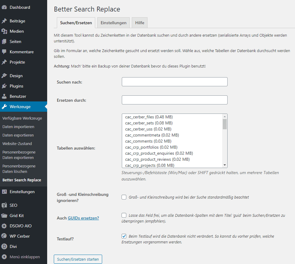 Screenshot Better Search Replace WordPress auf SSL unstellen